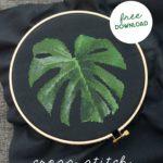 monstera leaf cross stitch fabric on black aida fabric