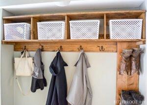 DIY mudroom storage cubbies