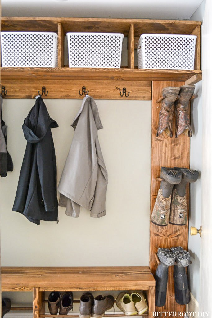 mudroom storage cubbies with boot rack