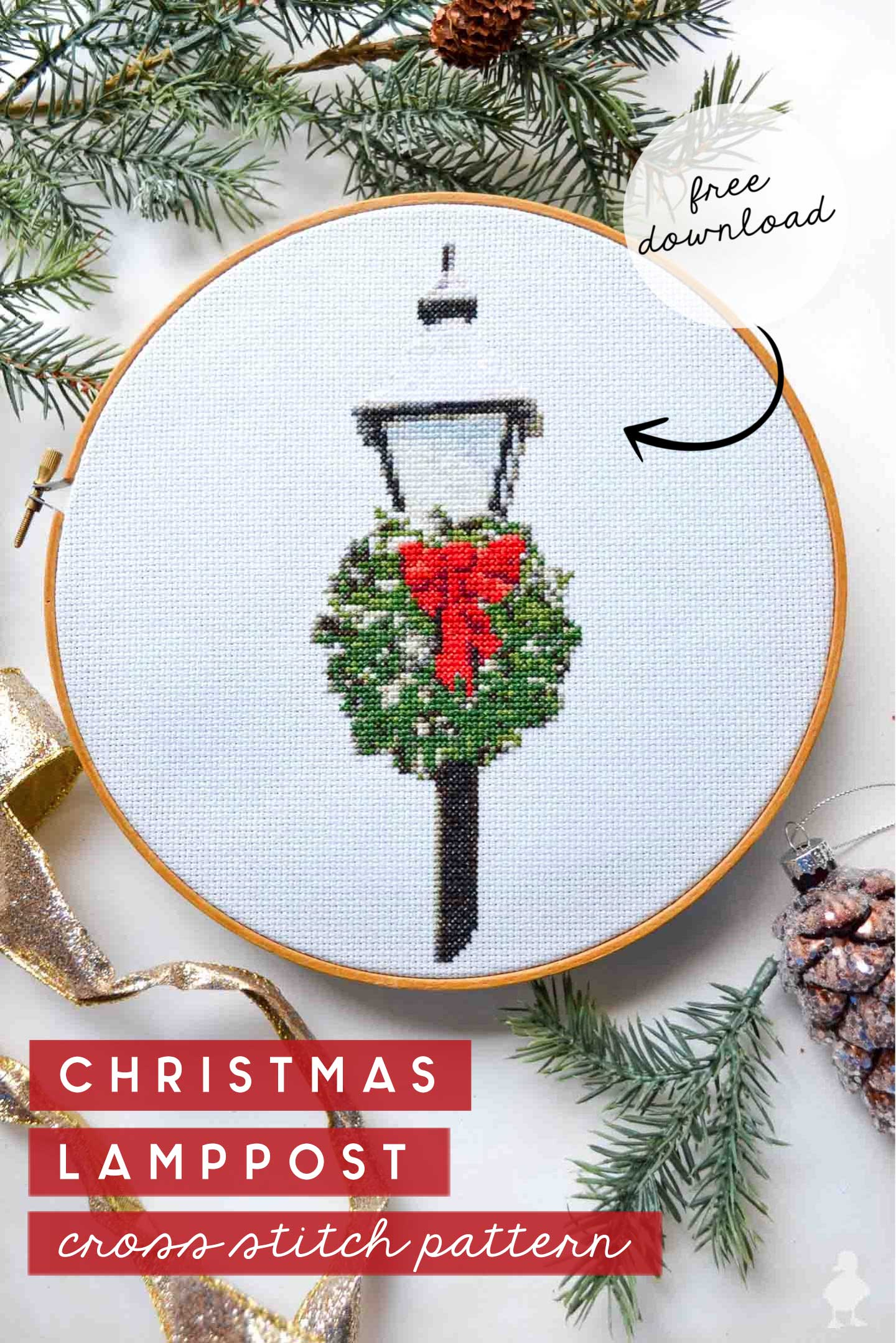 christmas lamppost cross stitch pattern