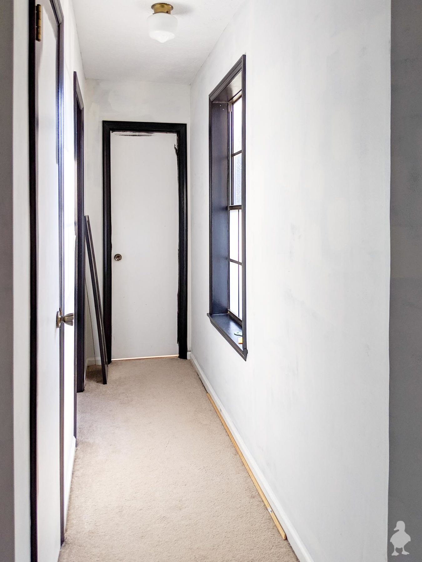 master bedroom hallway - new black trim - tricorn black