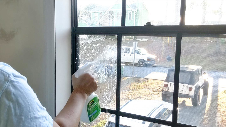 spray film solution on window
