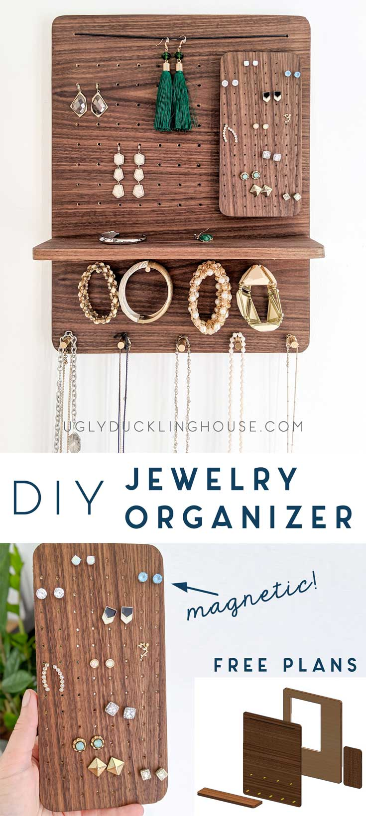 diy jewelry organizer with free plans by Ugly Duckling House
