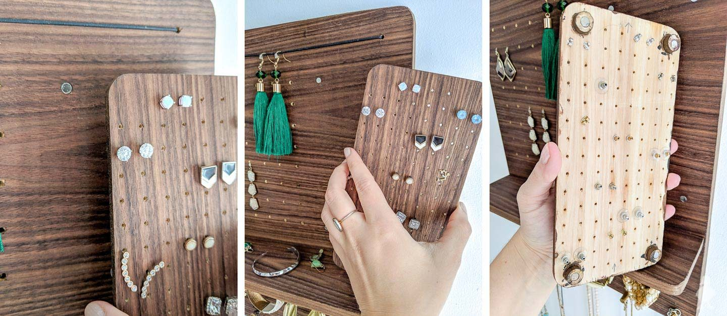 magnets glued in the front and back of stud earring holder