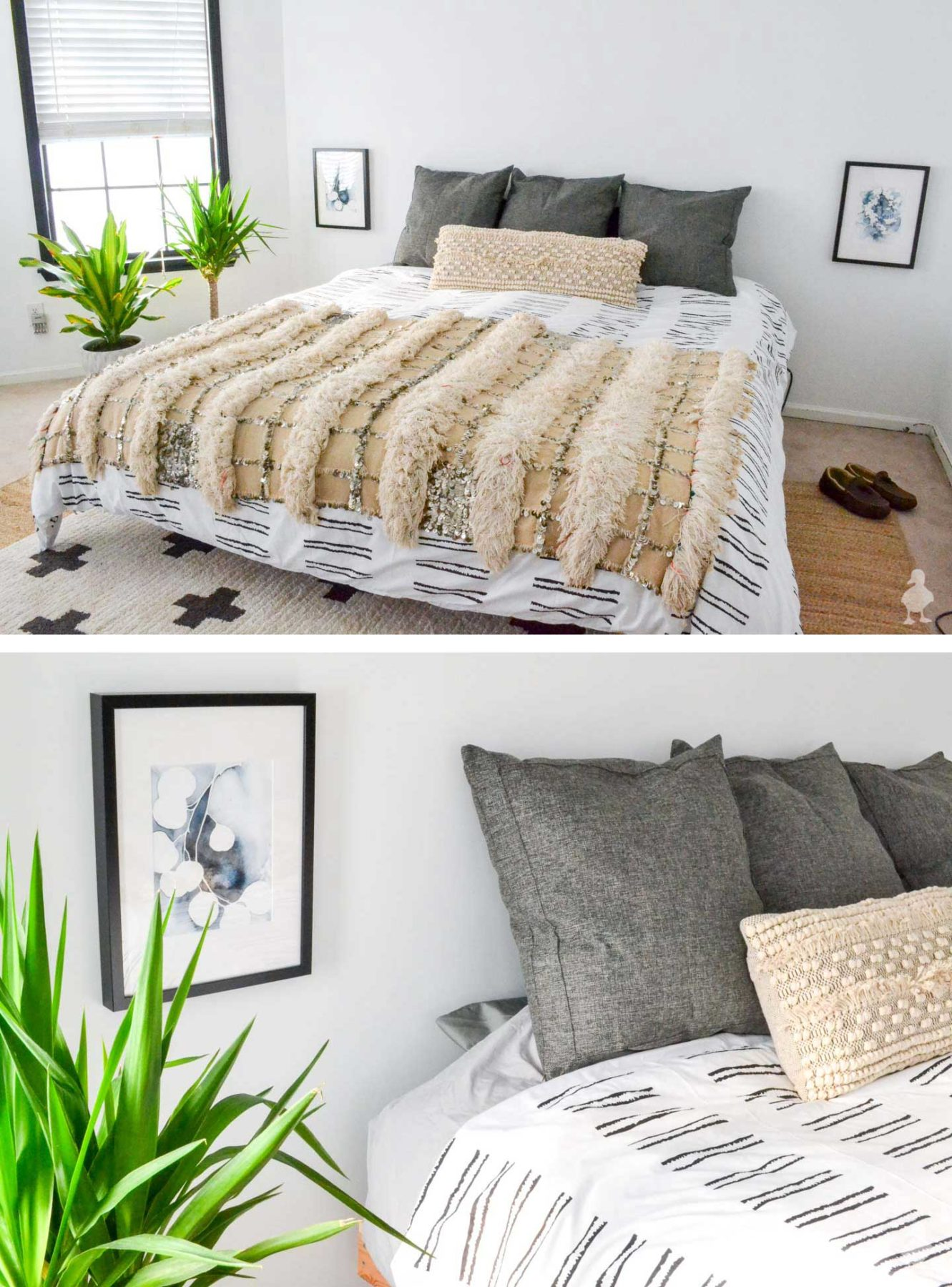 white and bright master bedroom makeover