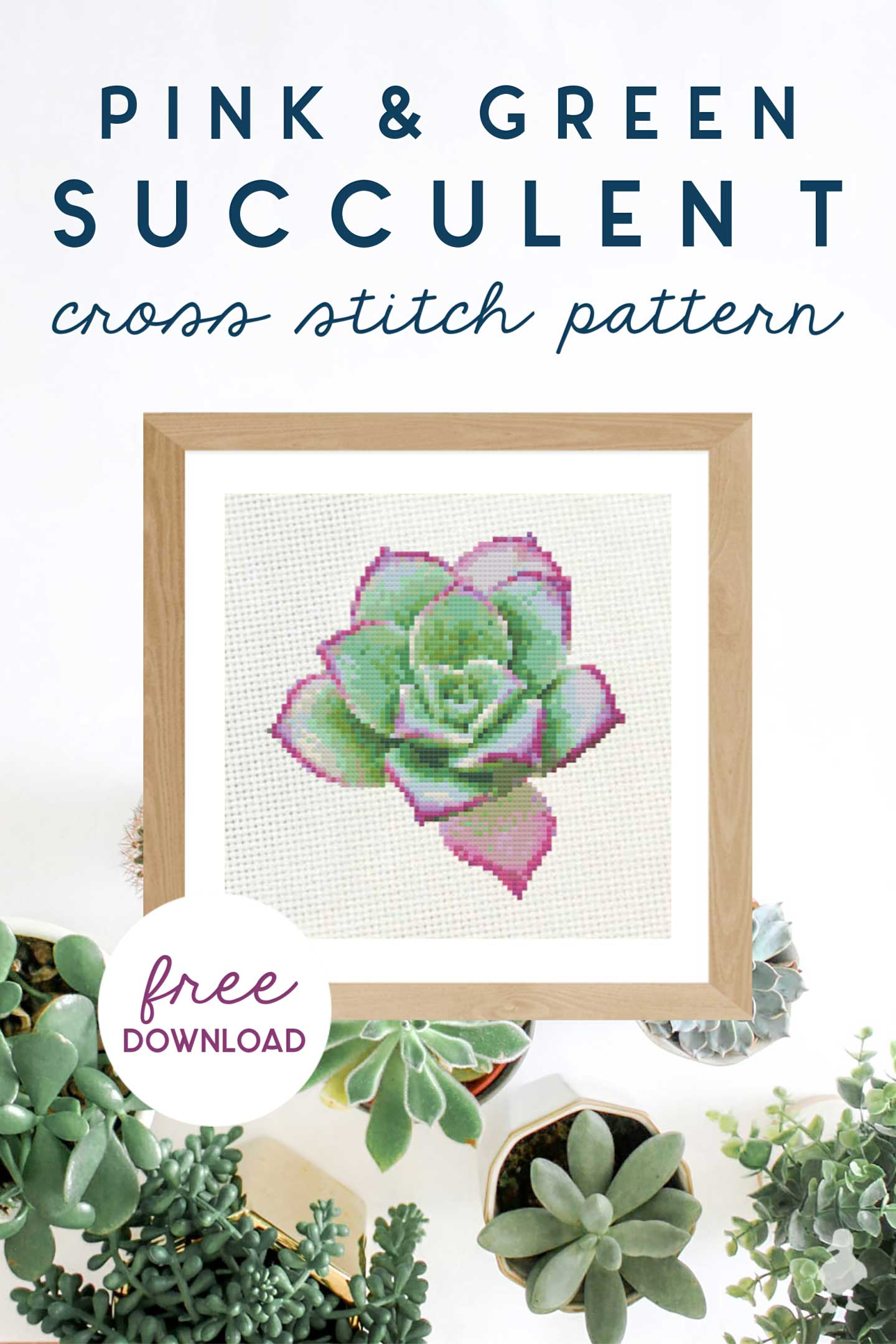 pink and green succulent cross stitch pattern - free pattern created by Ugly Duckling House