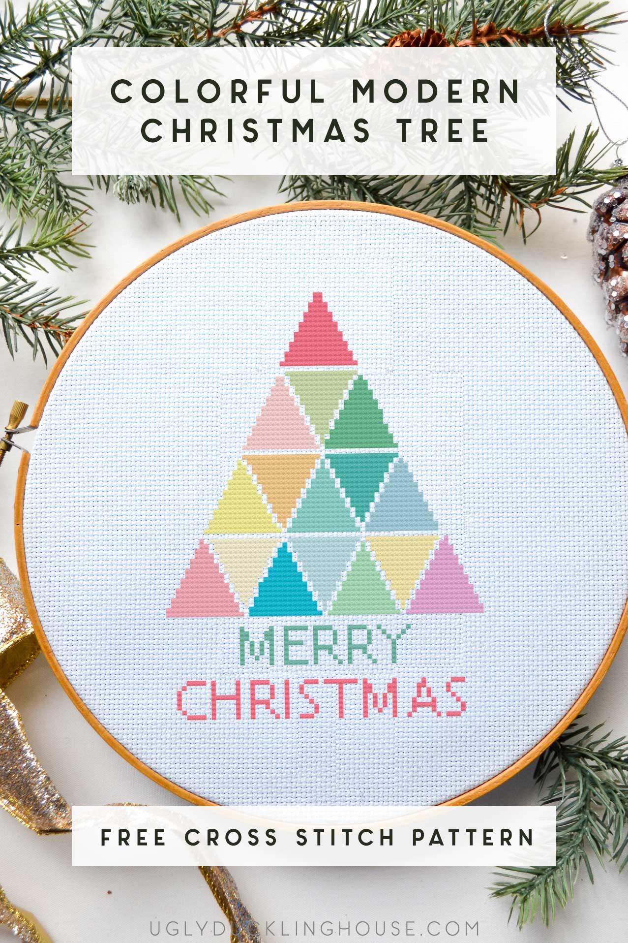 modern rainbow christmas tree cross stitch pattern
