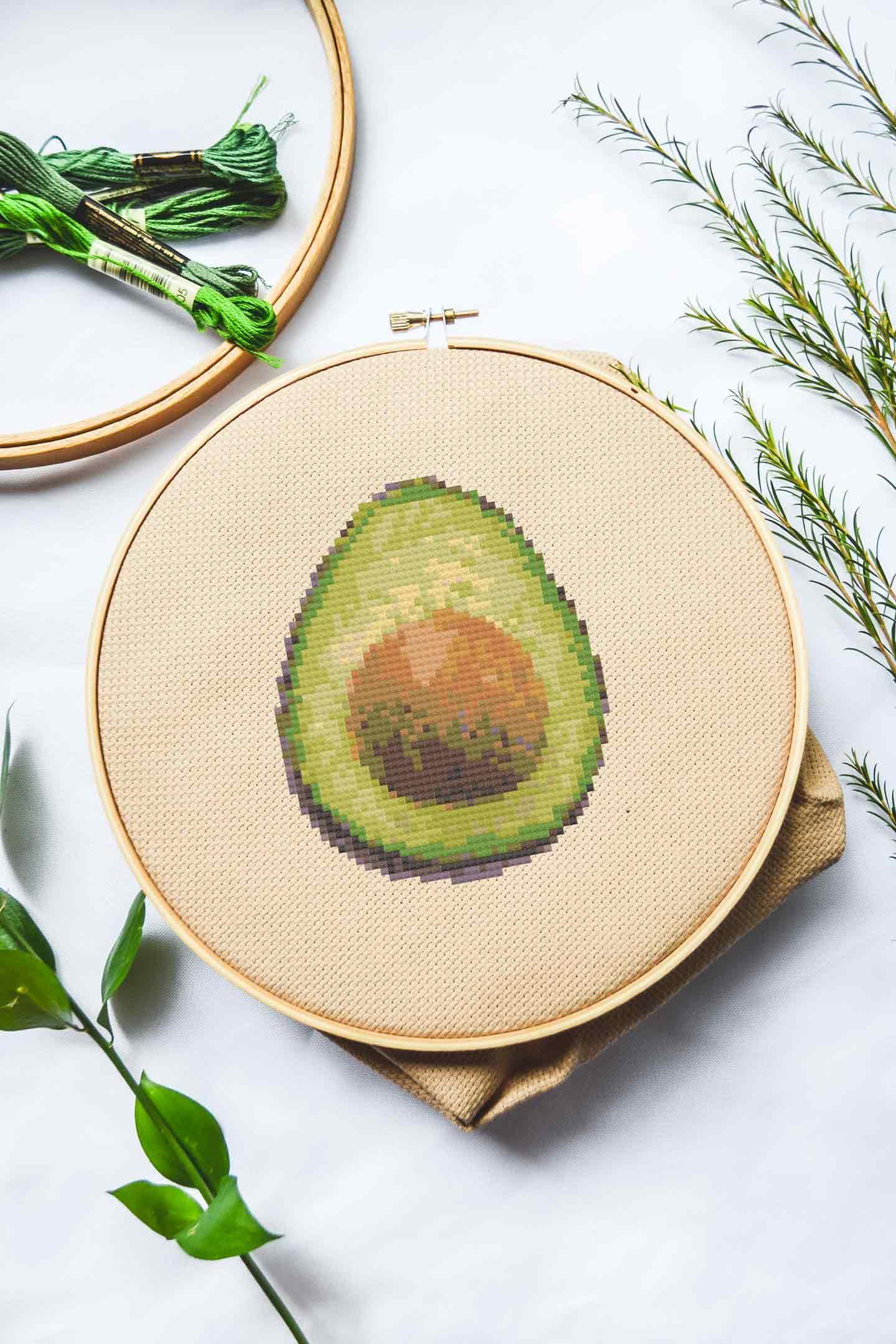 avocado cross stitch pattern