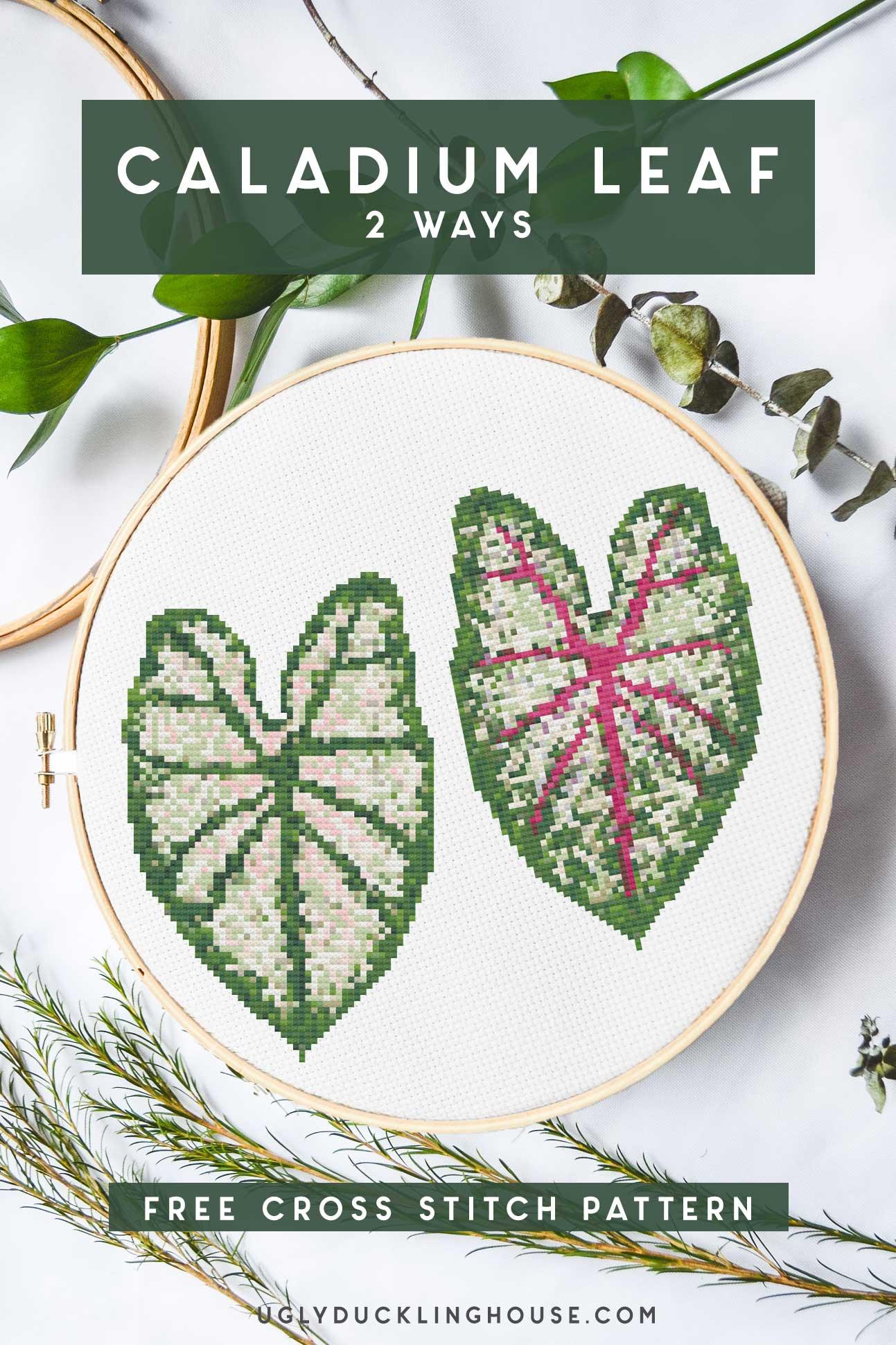 caladium leaf cross stitch 2 colorways