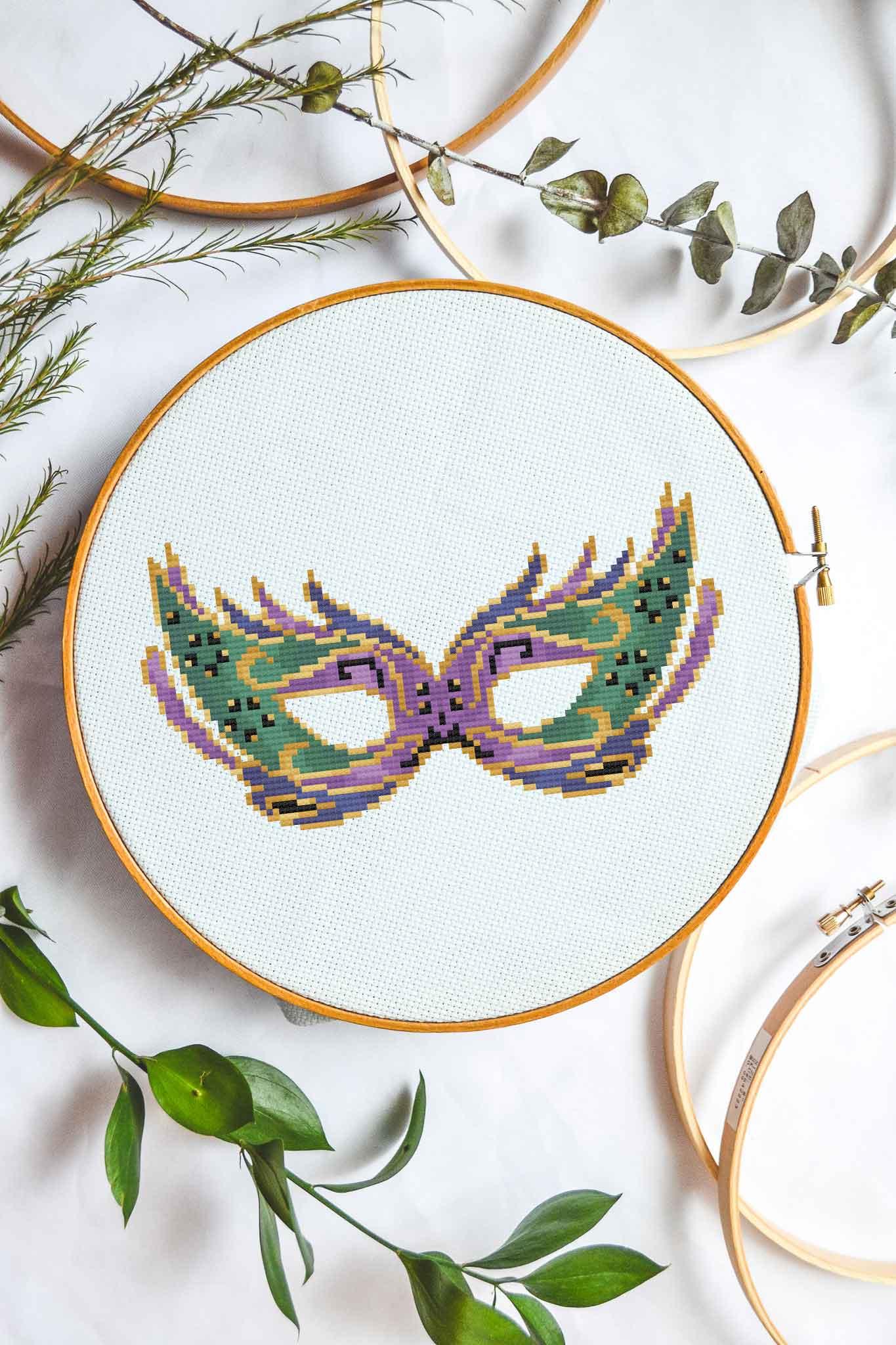 Mardi Gras Mask | Free Cross Stitch Pattern