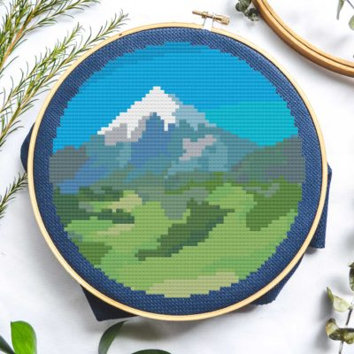 paint by numbers mountain round cross stitch pattern