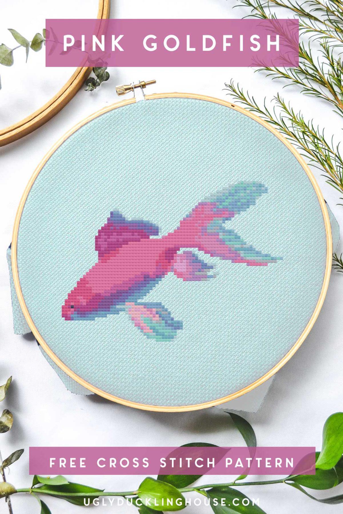 pink goldfish cross stitch free pattern