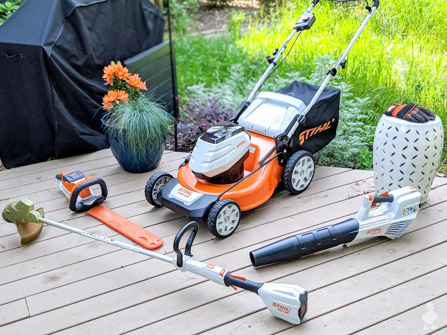 set of STIHL battery powered tools for the yard