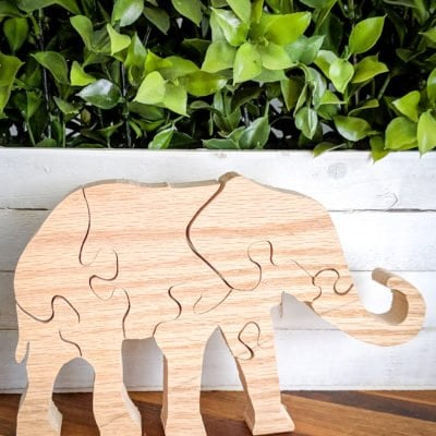 DIY Standing Elephant Puzzle made from scrap wood
