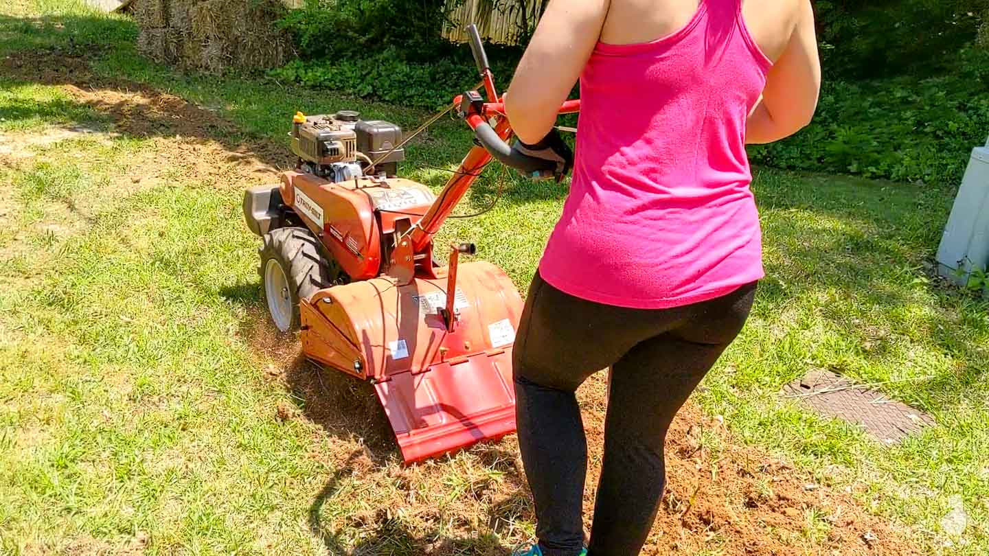 me tilling up the grass