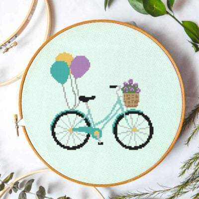 bike and balloons free cross stitch pattern March 2020