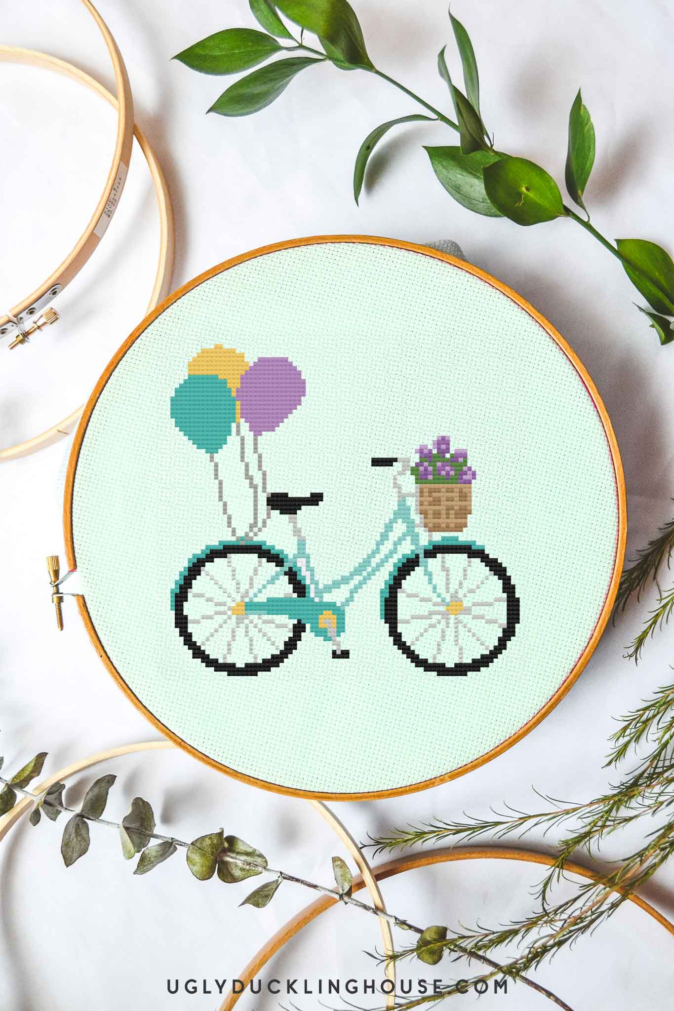 Balloons on a Bike | Free Cross Stitch Pattern