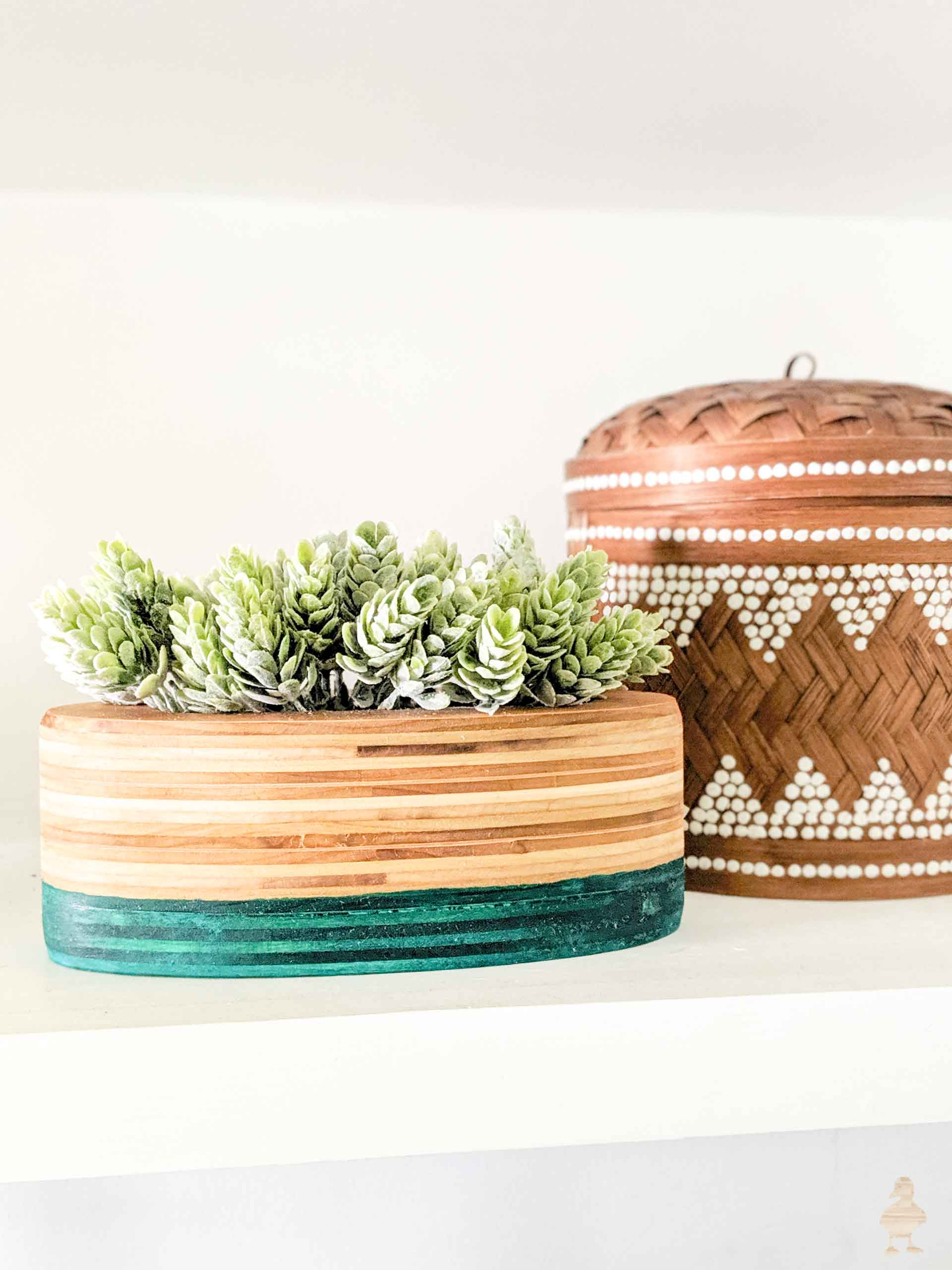 stacked plywood planter with teal dip dye