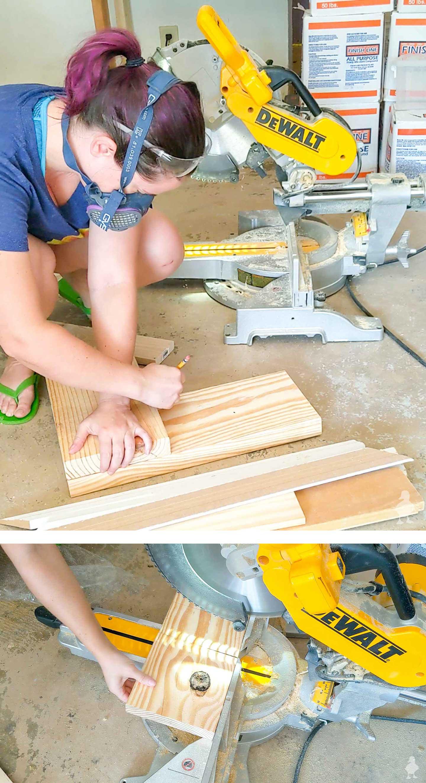 overlap scrap wood in L shape to create a square