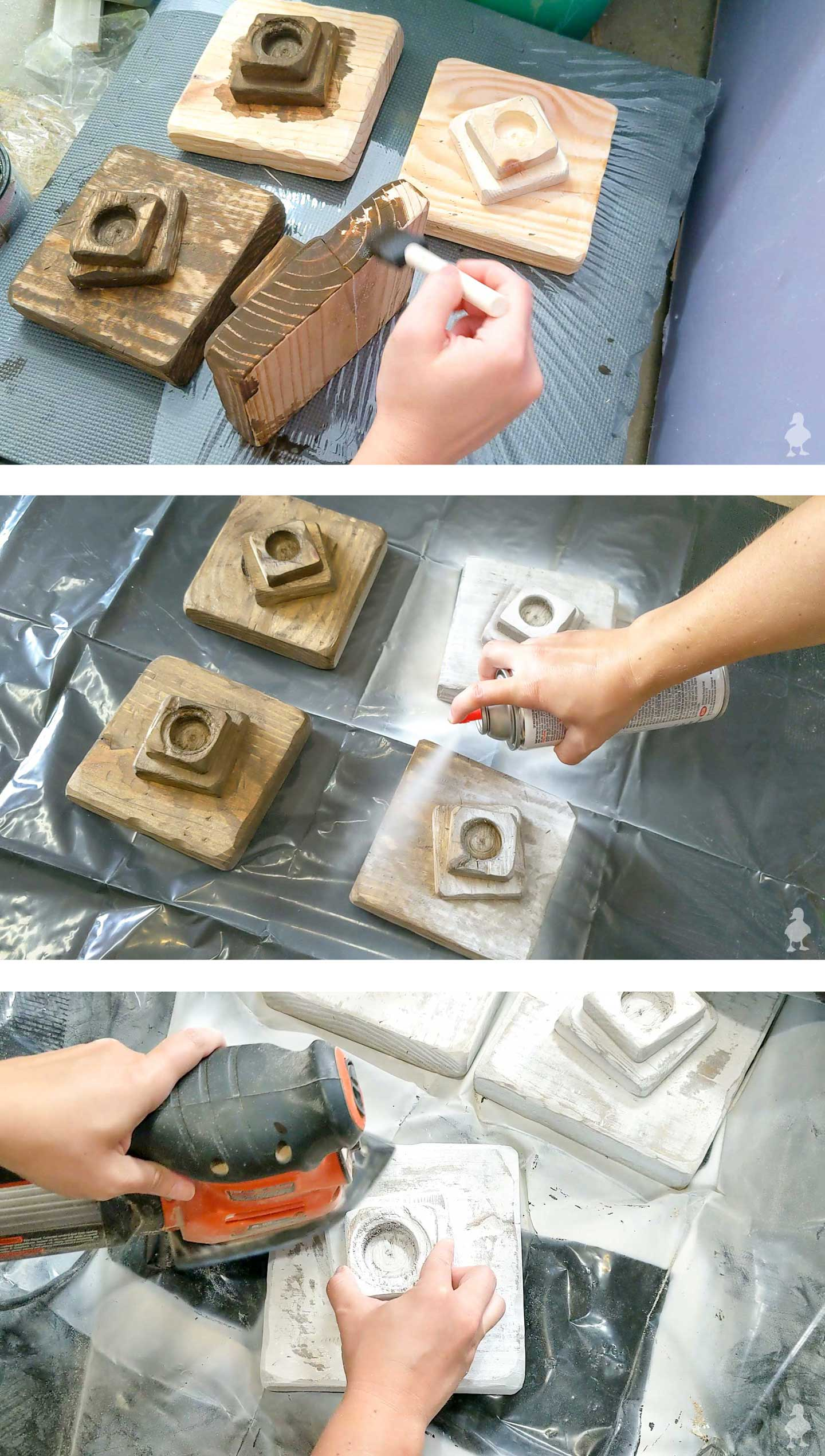 how to create distressed wall art with stain, paint, and sandpaper
