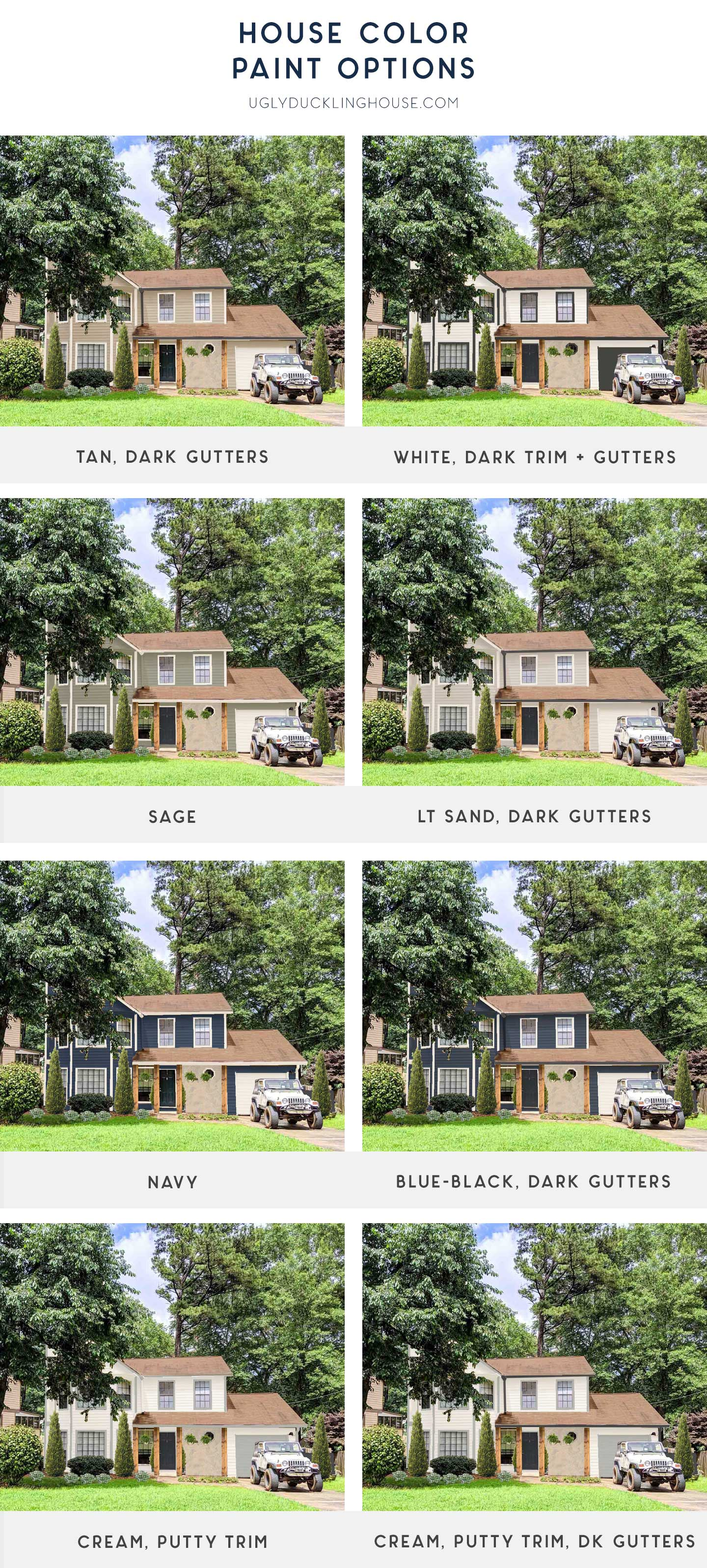 comparison of final house paint color and trim options with cedar wrapped columns and new landscaping