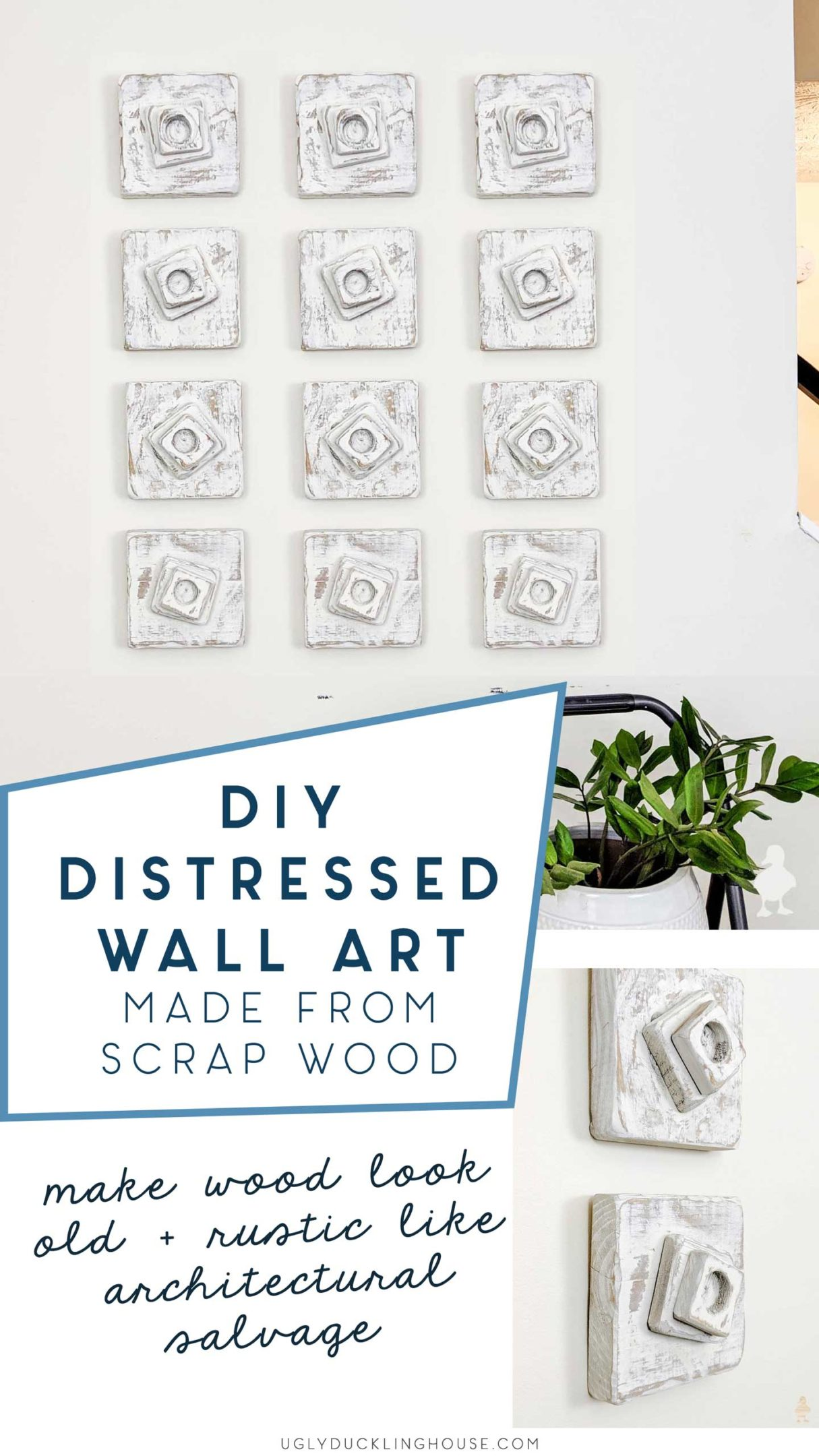 DIY distressed scrap wood wall art - make wood look like architectural scrap wood