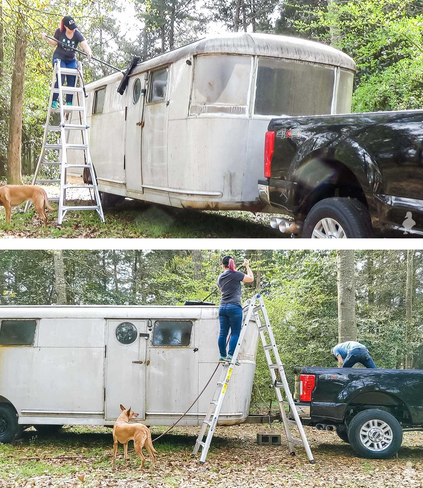 Rubys-Revival-scrubbing-the-roof-of-the-trailer