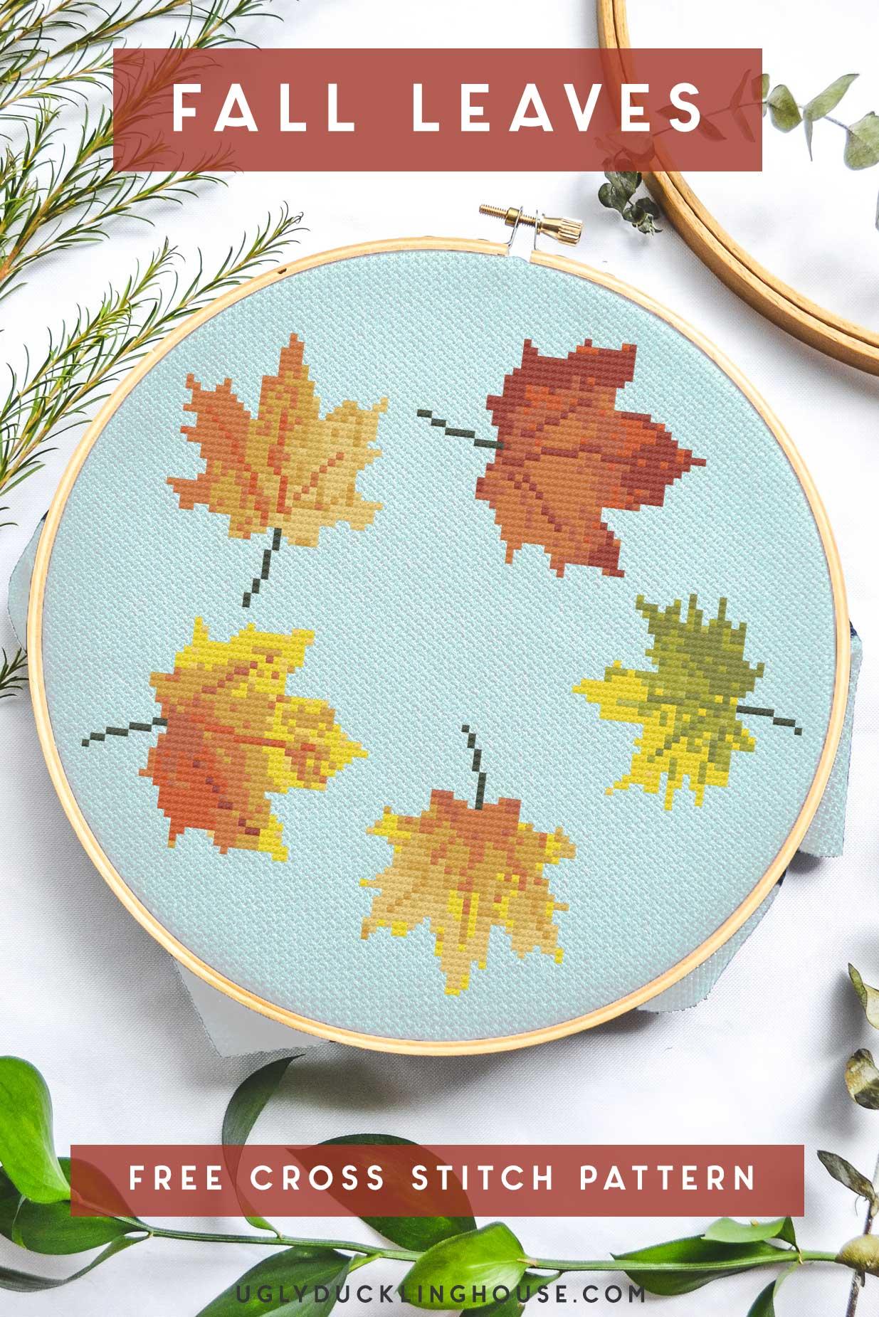 fall leaves free cross stitch pattern