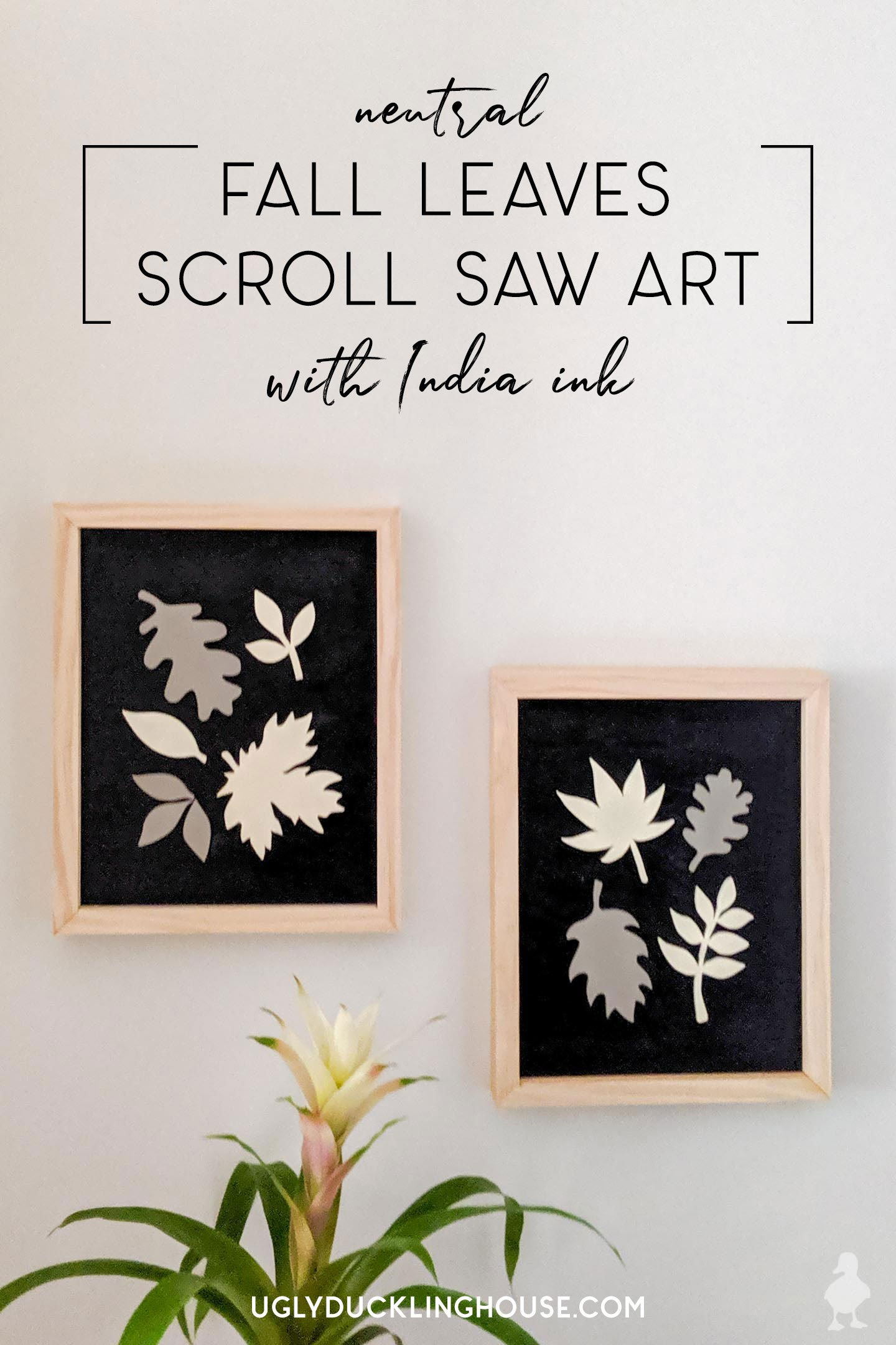 neutral fall leaves scroll saw art with india ink background