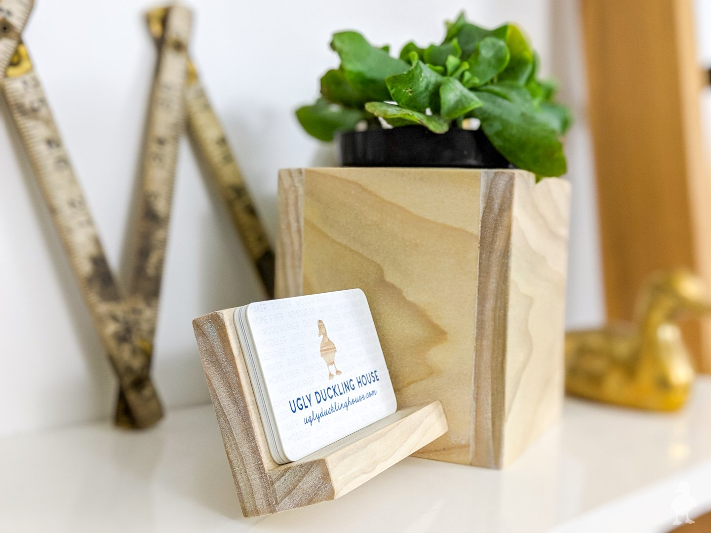 planter for desk accessory - planter with business card holder