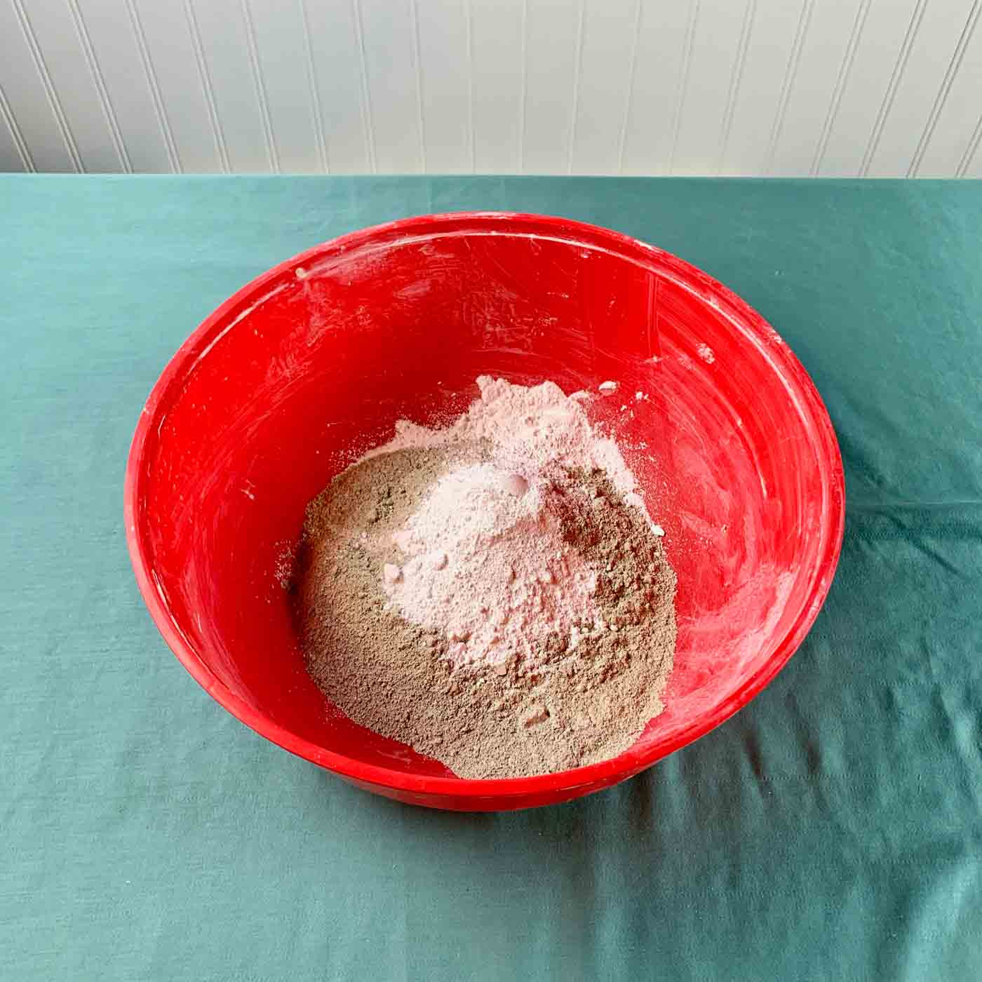 white pigment in cement mix bowl