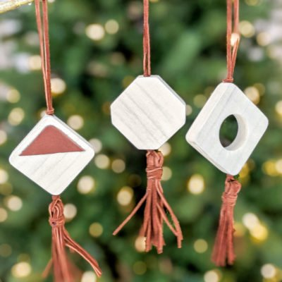 DIY wood and leather boho ornaments