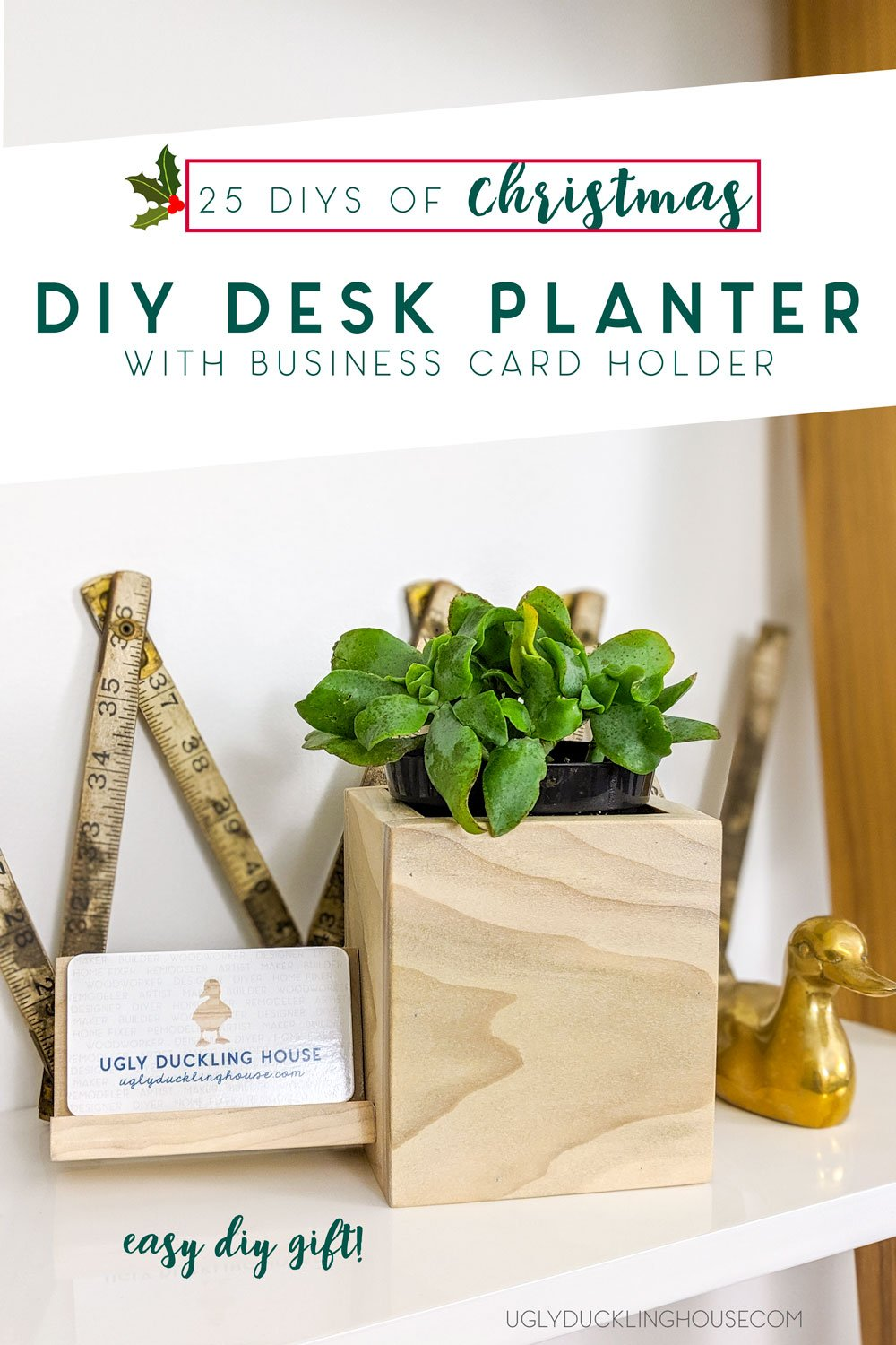 diy desk planter and business card holder - perfect last minute gift idea