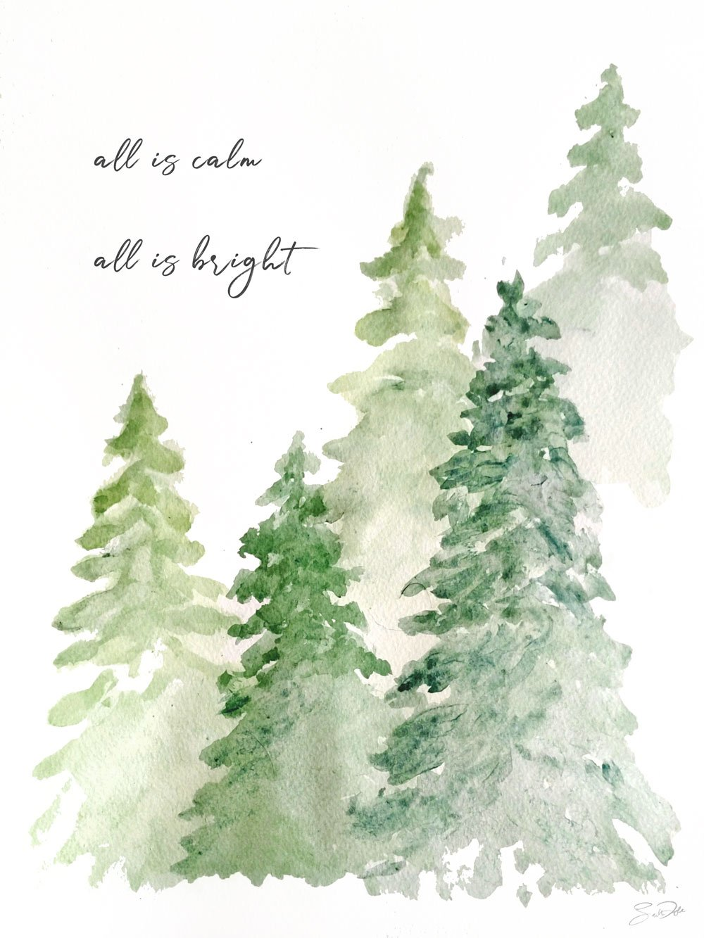 all is calm all is bright watercolor print