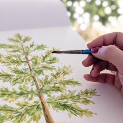 DIY Christmas Watercolor Prints - Boho tree