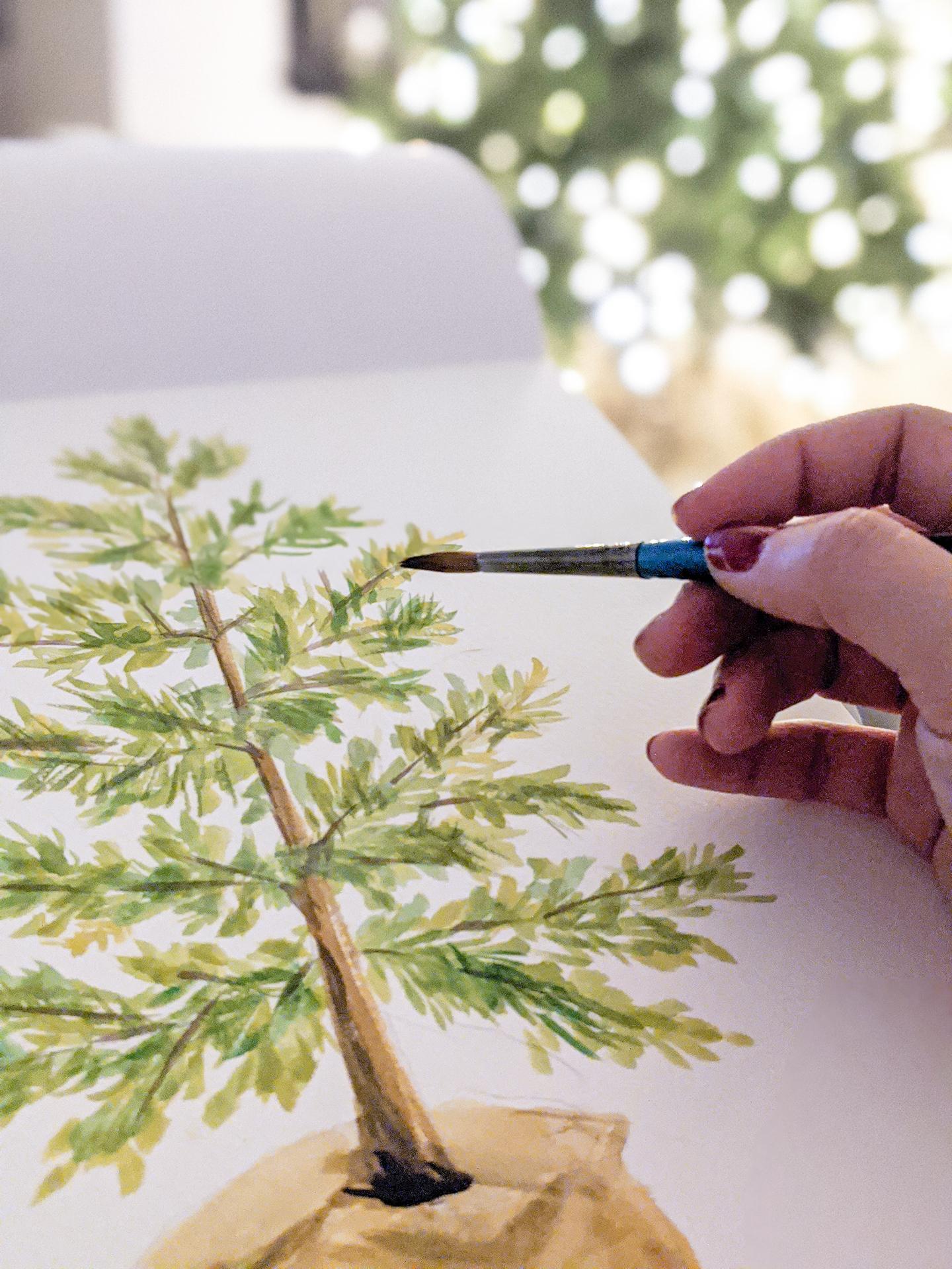 DIY Christmas Watercolor Prints - Boho tree
