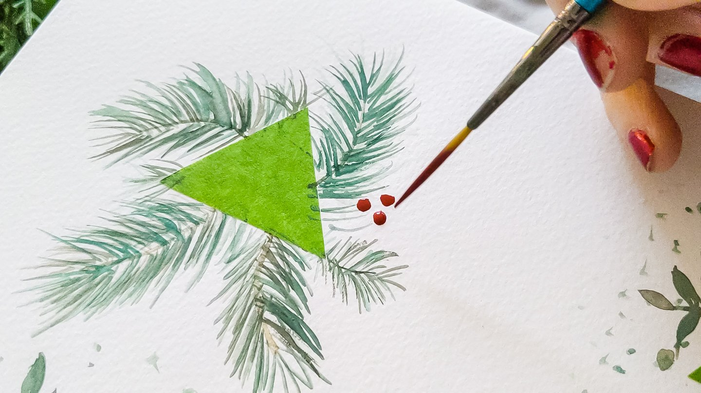 DIY Christmas Watercolor Tags - berries