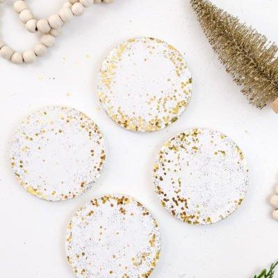 DIY Confetti Glitter + White Concrete Coasters