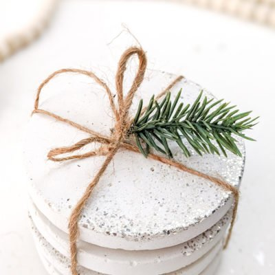wrap coasters with twine to give as a gift