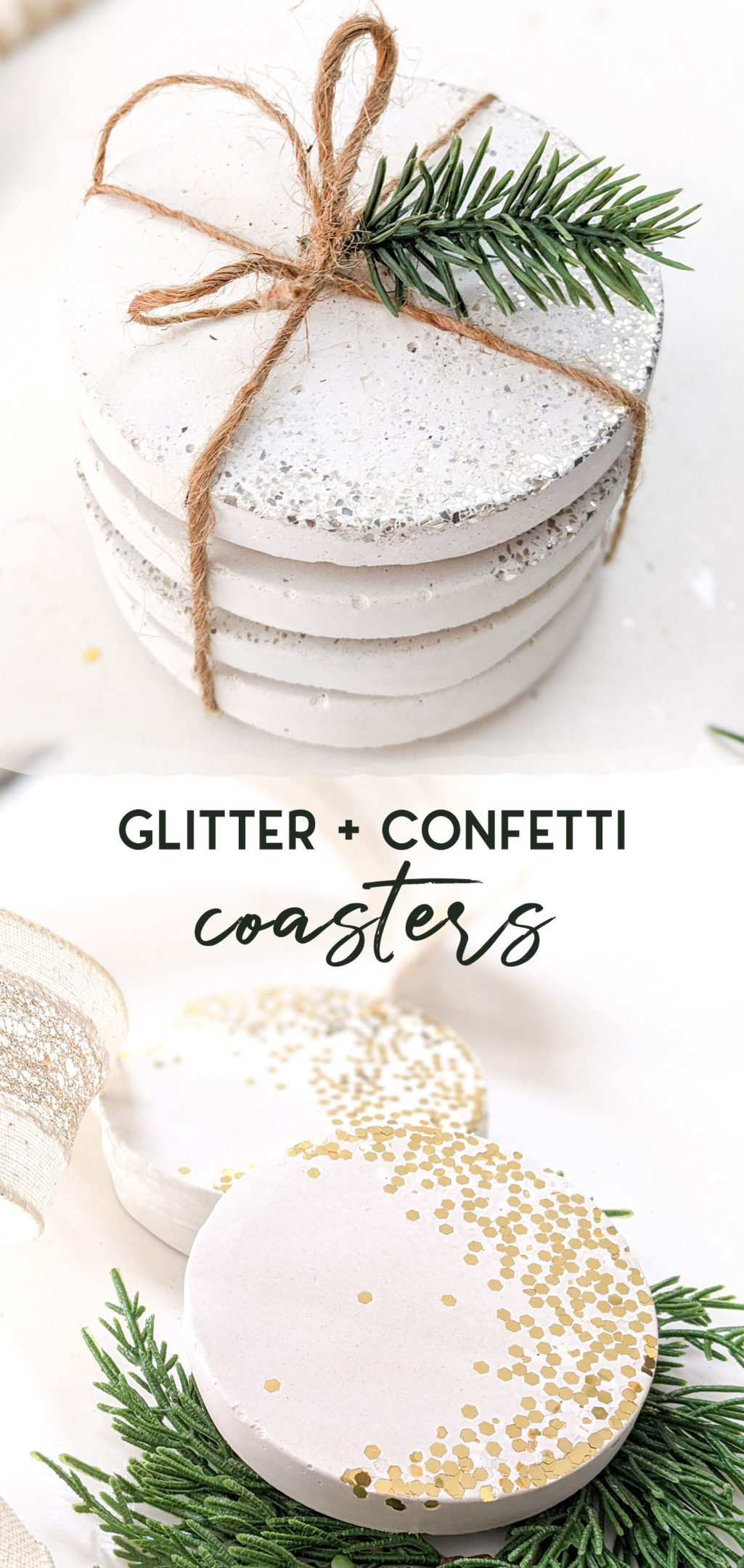 Glitter and confetti concrete coasters using white concrete and a silicone mode - 3 different beautiful options from just a few supplies! Makes an excellent hostess give or New Years Eve party decor. #hostessgift #partygift #NYE #newyears #christmas #coasters #concrete #whiteconcrete #diycoaster