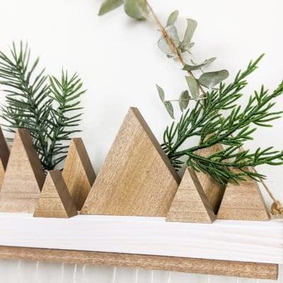 closeup of added greenery on advent calendar