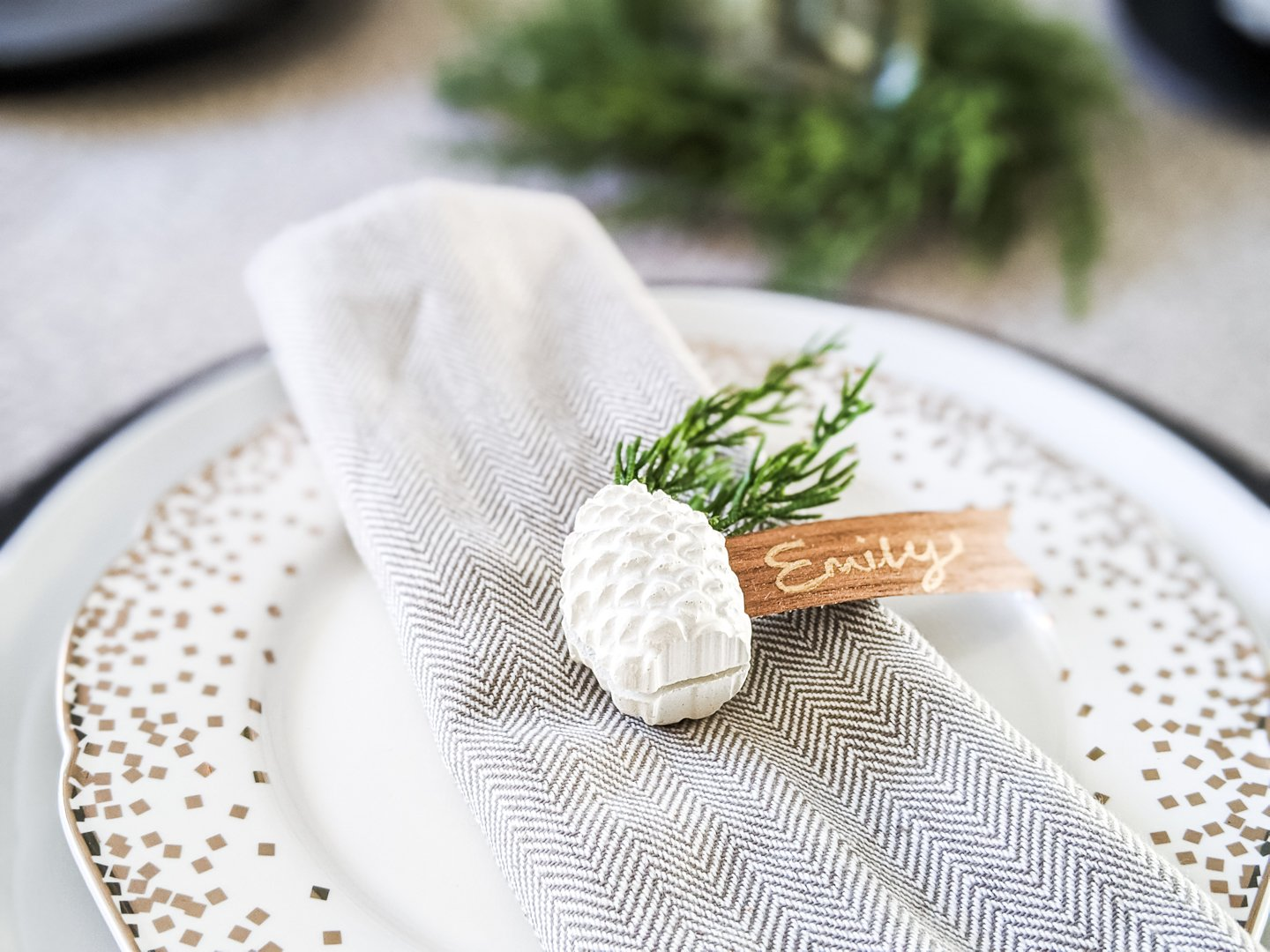 concrete place card holder can be used as a paperweight