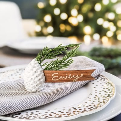 diy white concrete pine cone place card holder