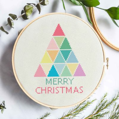 Rainbow Christmas Tree | Free Cross Stich Pattern