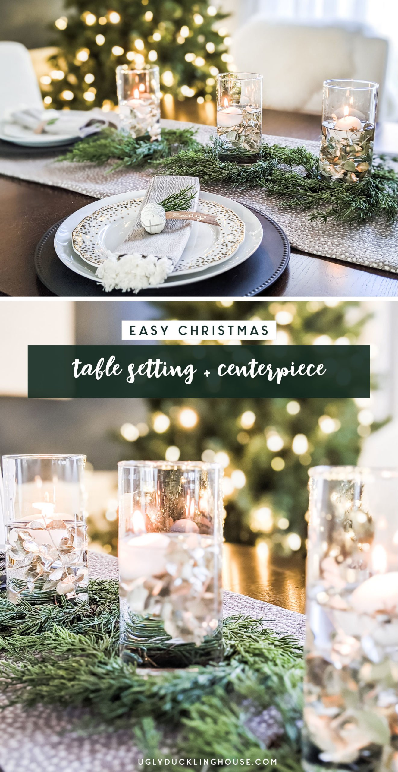 Christmas DIY table setting and centerpiece
