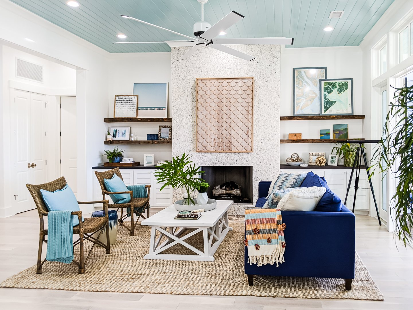 coastal living room blue accents white walls blue ceiling