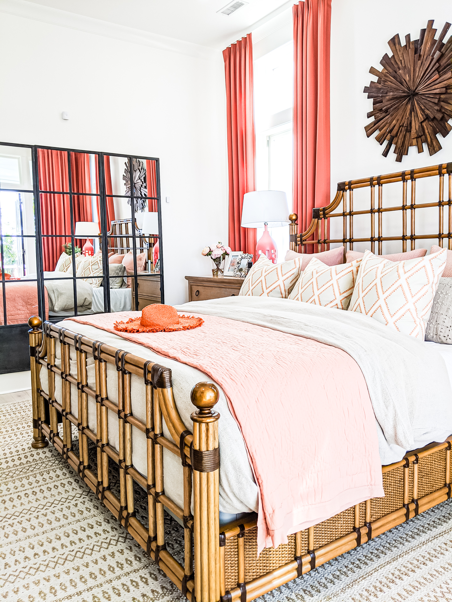 master bedroom coral accents farmhouse mirror