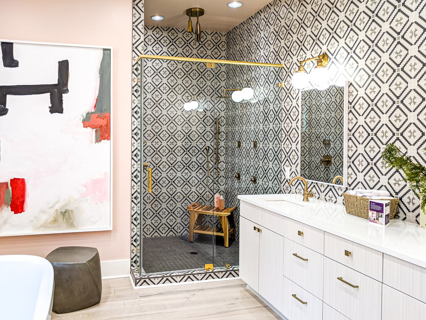 master bathroom cement tile with peach walls