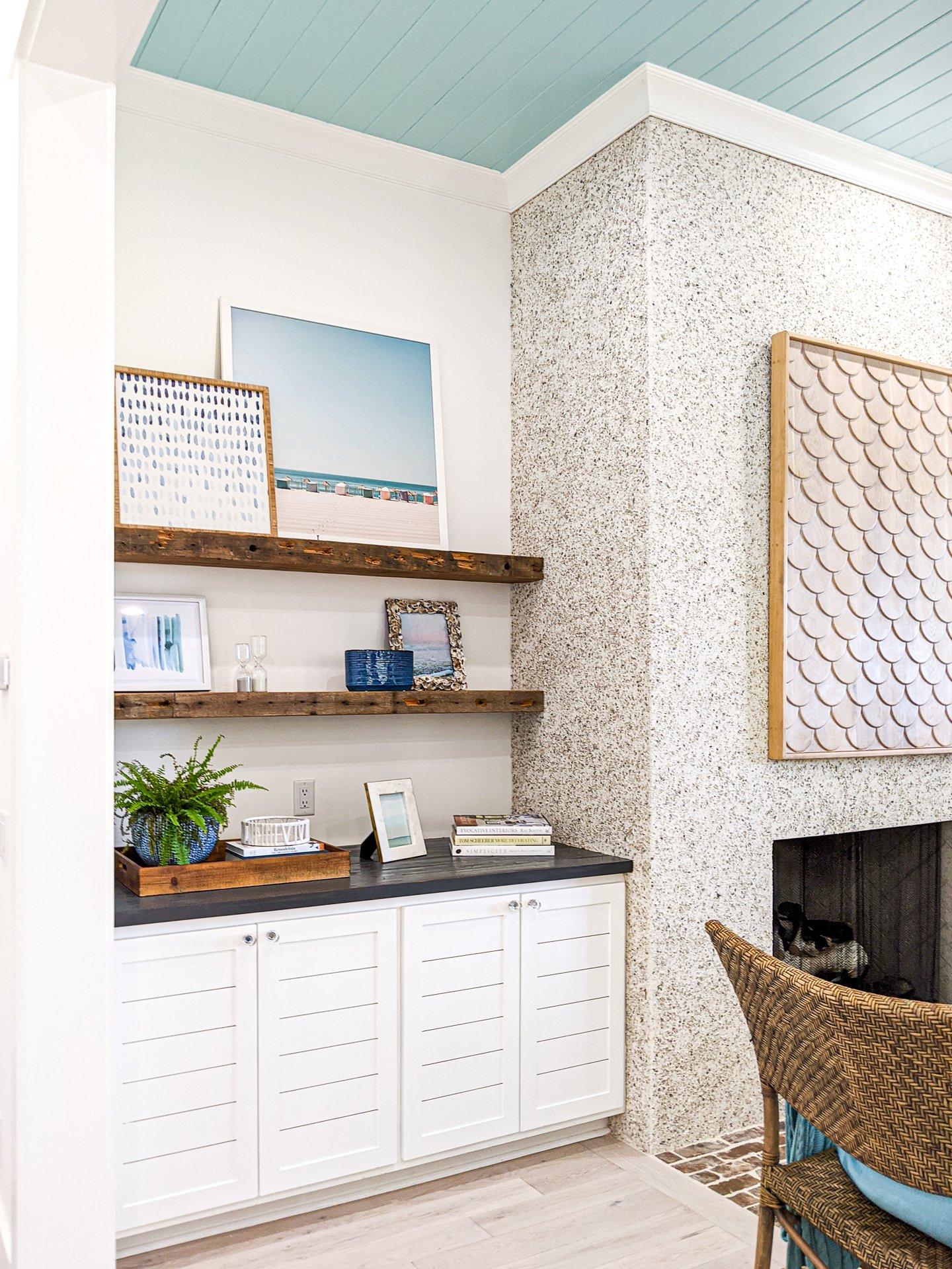 wood stain floating shelves white walls coastal modern decor