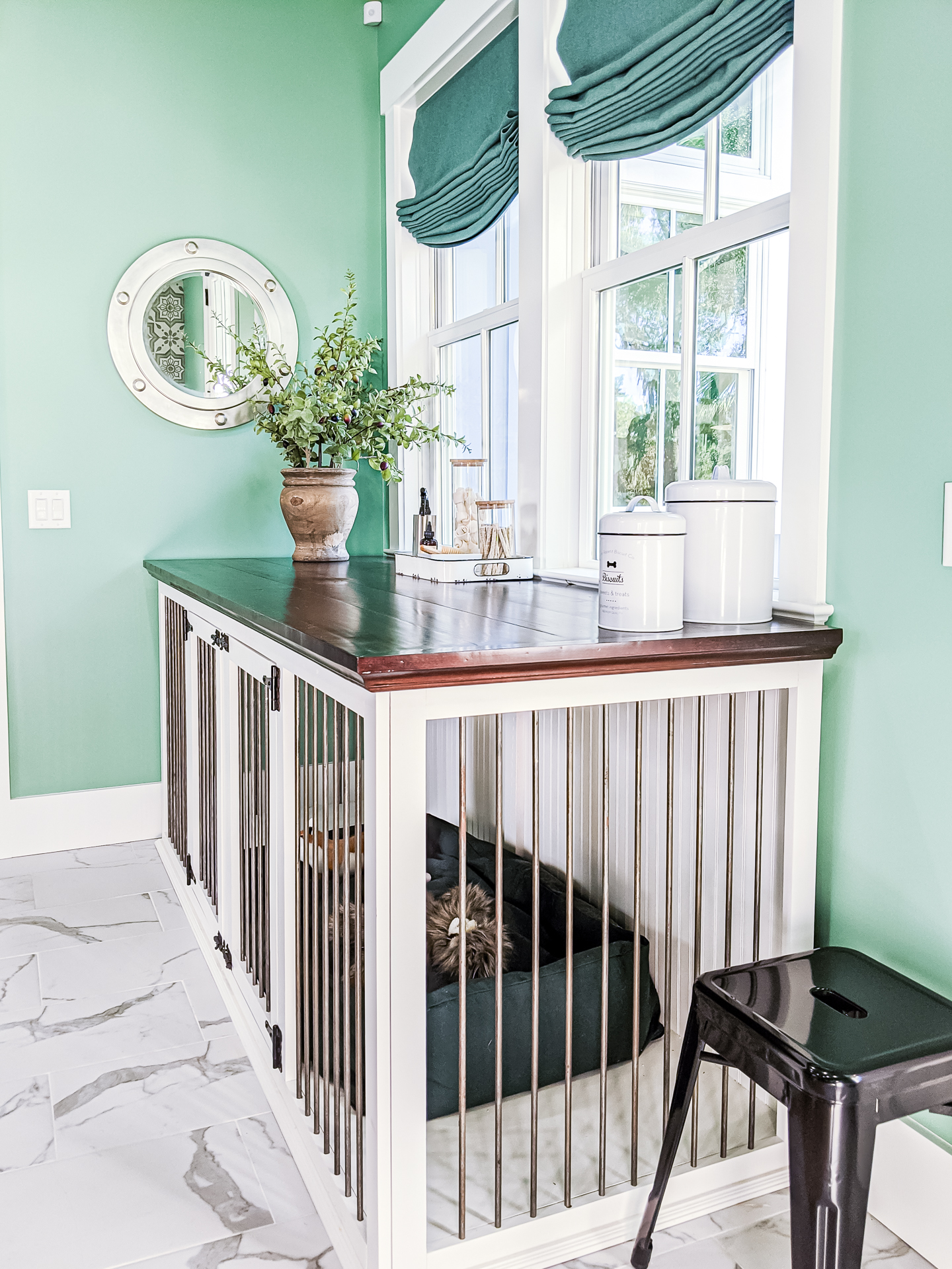 mudroom pet crate that is also a folding table
